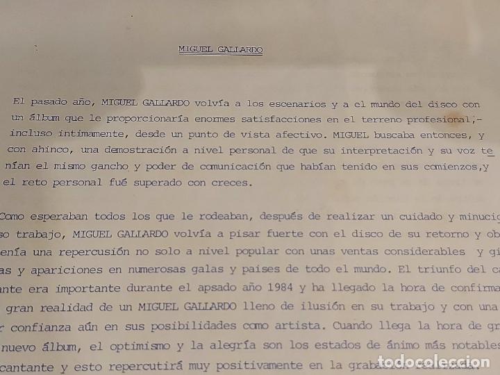 Discos de vinilo: MIGUEL GALLARDO / CORAZÓN VIAJERO / LP-PROMO+LETRAS+CARTA - RCA-1985 / MBC. ***/*** - Foto 3 - 225604925