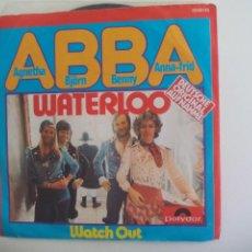 Disques de vinyle: ABBA. WATERLOO. (GERMAN VERSION). WATCH OUT. 1974 POLYDOR 2040116 DEUTSCHE ORIGINAL AUFNAHME SINGLE. Lote 225695385