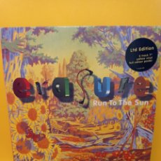 Discos de vinilo: ERASURE - RUN TO THE SUN - VERSION - TENDEREST MOMENTS (SINGLE AMARILLO - ED. LITIMITADA). Lote 225163681