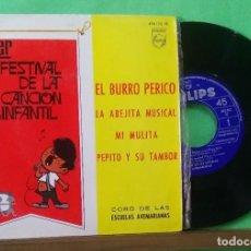 Discos de vinilo: PRIMER FESTIVAL DE LA CANCION INFANTIL - EL BURRO PERICO - EPS- LIMPIO CON ALCOHOL ISOPROPÍLICO. Lote 225746315