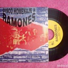 Discos de vinilo: EP DISCO HOMENAJE A LOS RAMONES - LOS GARFIOS / LOS CLAVOS / MOTOSIERRAS +1 - EUKZ 010 - (NM/NM). Lote 225773665