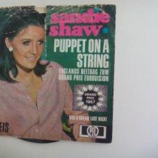 Discos de vinilo: SANDY SHAW. PUPPET ON A STRING. EUROVISION GRAND PRIX 1967. PYE HT 300081. SINGLE. Lote 225895605