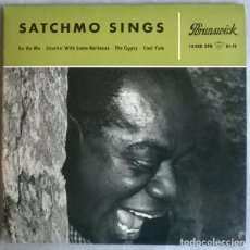 Discos de vinilo: LOUIS ARMSTRONG. SATCHMO SINGS. KO KO MO/ STRUTTIN' WITH SOME BARBECUE/ THE GYPSY/ COOL YULE. 1955 M. Lote 225907120