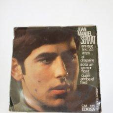 Discos de vinilo: JOAN MANUEL SERRAT - ARA QUE TINC 20 ANYS/EL DRAPAIRE/SOTA UN CIRERER FLORIT/QUAN ARRIBA EL FRED.. Lote 225999870