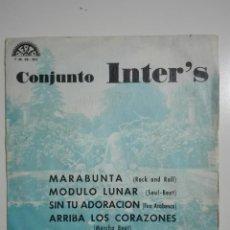 """Discos de vinilo: VINILO 7"""" EP CONJUNTO INTER'S MARABUNTA, MODULO LUNAR, SIN TU ADORACION, ARRIBA LOS CORAZONES - 1974. Lote 226070768"""