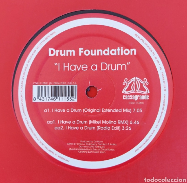 MAXI SINGLE DRUM FOUNDATION - I HAVE A DRUM - EDIC. LIMITADA (Música - Discos de Vinilo - Maxi Singles - Techno, Trance y House)