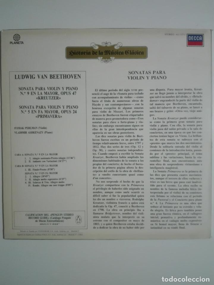 """Discos de vinilo: VINILO 12"""" LP LUDWING VAN BEETHOVEN SONATA PARA VIOLIN Y PIANO Nº 9 Y Nº5 - 1983 - 200g - Foto 3 - 226125935"""