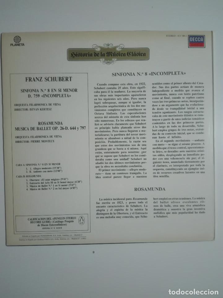 "Discos de vinilo: VINILO 12"" LP FRANZ SHUBERT SINFONIA Nº 8 EN SI MENOR Y ROSAMUNDA DE BALET - 1983 - 200g - Foto 3 - 226126795"