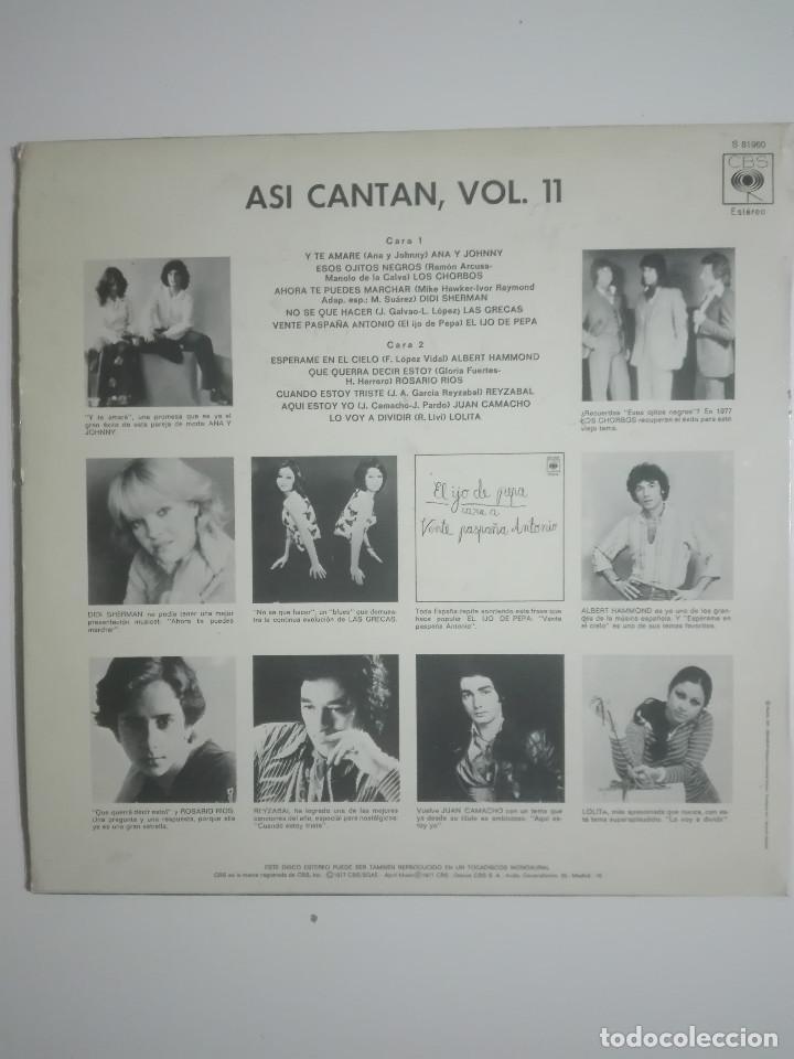 """Discos de vinilo: VINILO 12"""" LP ASI CANTAN VOL. 11 LOLITA LOS CHORBOS LAS GRECAS DIDI SHERMAN - 1977 - 230g - Foto 3 - 226130380"""
