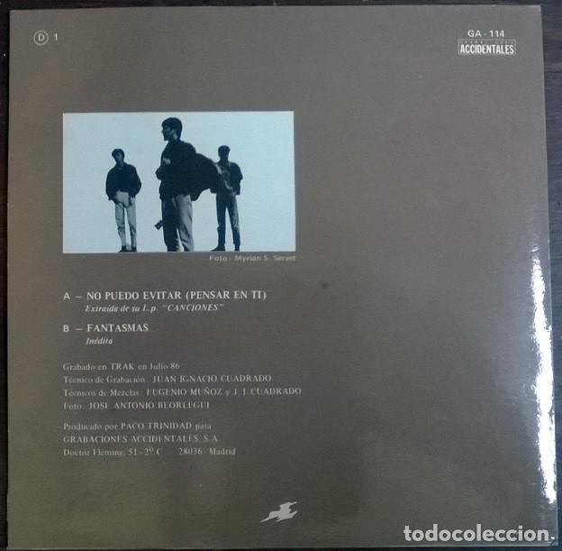 Discos de vinilo: Duncan Dhu. No puedo evitar pensar en ti/ Fantasmas. Grabaciones Accidentales, Spain 1986 single - Foto 2 - 226141600