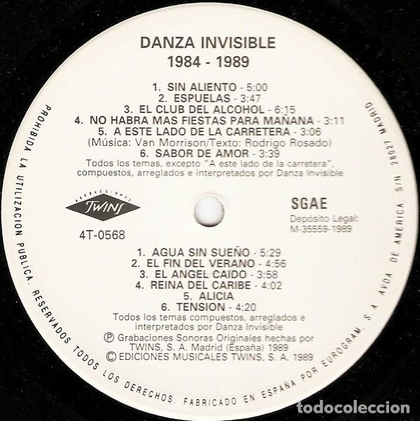 Discos de vinilo: Danza Invisible – 1984 - 1989 - LP Spain 1989 - Foto 2 - 226142332