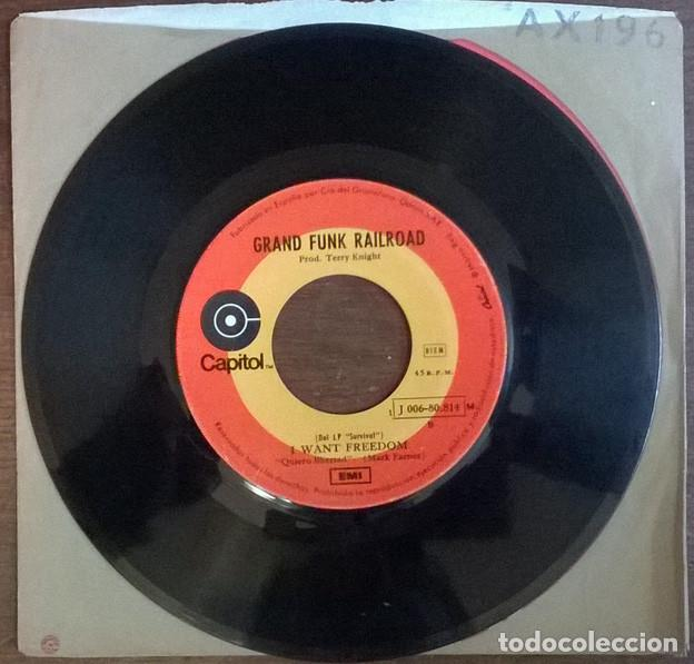 Discos de vinilo: Grand Funk Railroad. Feelin alright/ I want freedom. Capitol, Spain 1971 single - Foto 2 - 226142925