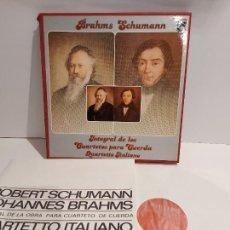 Discos de vinilo: BRAHMS-SCHUMANN / INTEGRAL DE LOS CUARTETOS DE CUERDA / ESTUCHE CON 3 LP'S + LIBRETO / MBC. ***/***. Lote 226231540