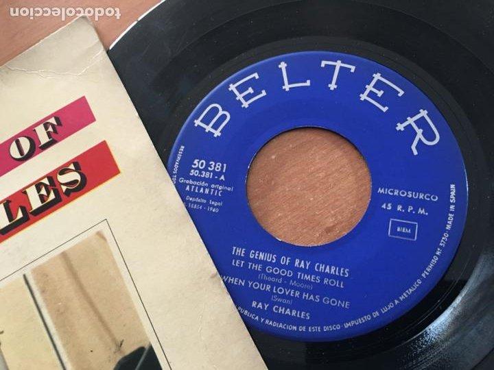 Discos de vinilo: RAY CHARLES THE GENIUS OF (LET THE GOOD TIMES ROLL +3) EP ESPAÑA 1960 (EPI19) - Foto 2 - 226395410