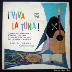 Discos de vinilo: VIVA LA TUNA - ESTUDIANTINA DE MADRID Y CORO UNIVERSITARIO. EL DÍA DE LOS ENAMORADOS + 3. Lote 226402495