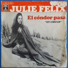 Discos de vinilo: SINGLE / JULIE FELIX / IF I COULD (EL CÓNDOR PASA) - ALONE / ODEON 1 J 006-91.300 M / 1970. Lote 226413490