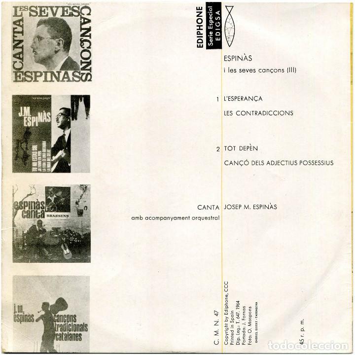 Discos de vinilo: Josep Maria Espinas i Orq. - Les seves cançons (III) - Ep Spain 1964 - Ediphone CMNº 74 - Foto 2 - 226422015