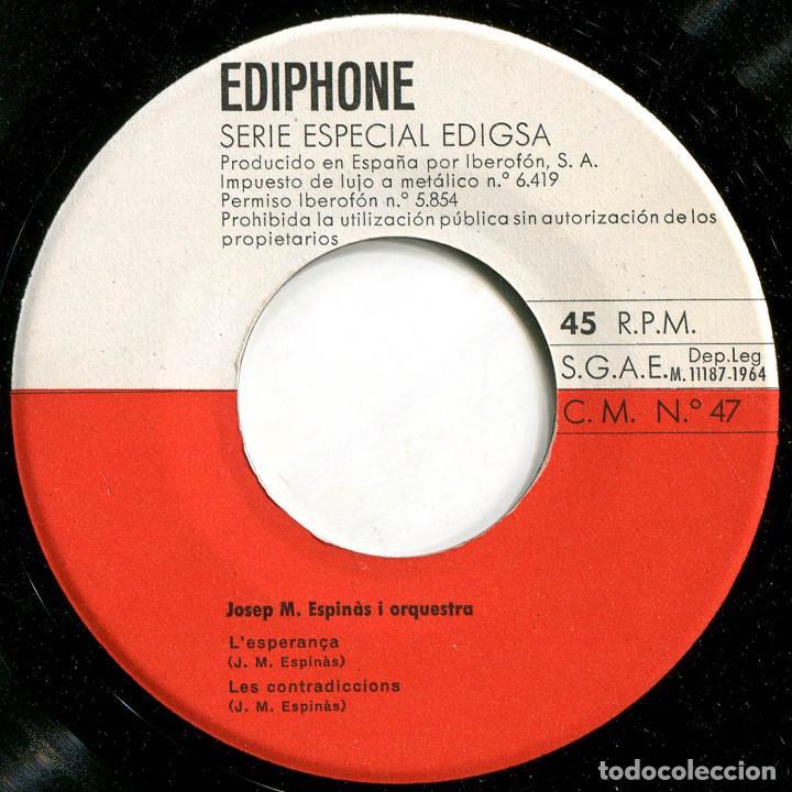 Discos de vinilo: Josep Maria Espinas i Orq. - Les seves cançons (III) - Ep Spain 1964 - Ediphone CMNº 74 - Foto 3 - 226422015