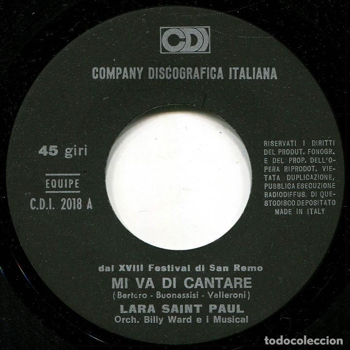 Discos de vinilo: Lara Saint Paul - Mi no va cantare (S. Remo 68) - Sg Italia - CD2018 - Foto 3 - 226422820
