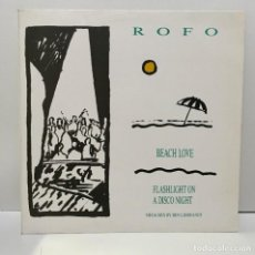 Discos de vinilo: ROFO ‎– BEACH LOVE / FLASHLIGHT A DISCO NIGHT - 1987. Lote 226467715