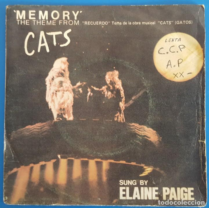 SINGLE / ELAINE PAIGE / THEME FROM THE MUSICAL CATS - MEMORY - OVERTURE / POLYDOR 20 59 364 / 1981 (Música - Discos - Singles Vinilo - Bandas Sonoras y Actores)