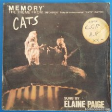 Discos de vinilo: SINGLE / ELAINE PAIGE / THEME FROM THE MUSICAL CATS - MEMORY - OVERTURE / POLYDOR 20 59 364 / 1981. Lote 226902750