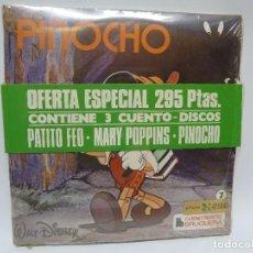 Disques de vinyle: SINGLES CUENTO·DISCOS BRUGUERA=PATITO FEO-MARY POPPINS-PINOCHO=CUENTOS WALT DISNEY-LEER Y ESCUCHAR. Lote 227106706