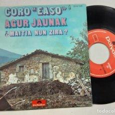 Discos de vinilo: CORO EASO, AGUR JAUNAK + MAITIA NUN ZIRA?. Lote 227143100