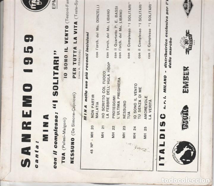 Discos de vinilo: 45 giri Ep Mina Io soon il vento +3 Italdisc EPMH 1010 Italdisc Sanremo 1959 - Foto 3 - 227222895