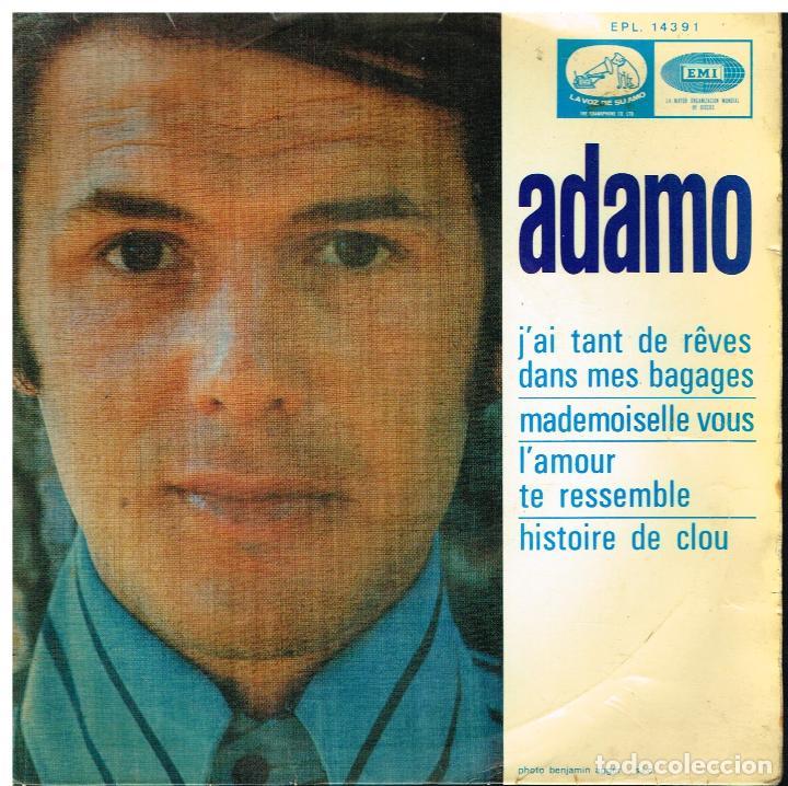 ADAMO - J'AI TANT DE REVES DANS MES BAGAGES / MADEMOISELLE VOUS +2 - EP 1968 (Música - Discos de Vinilo - EPs - Canción Francesa e Italiana)