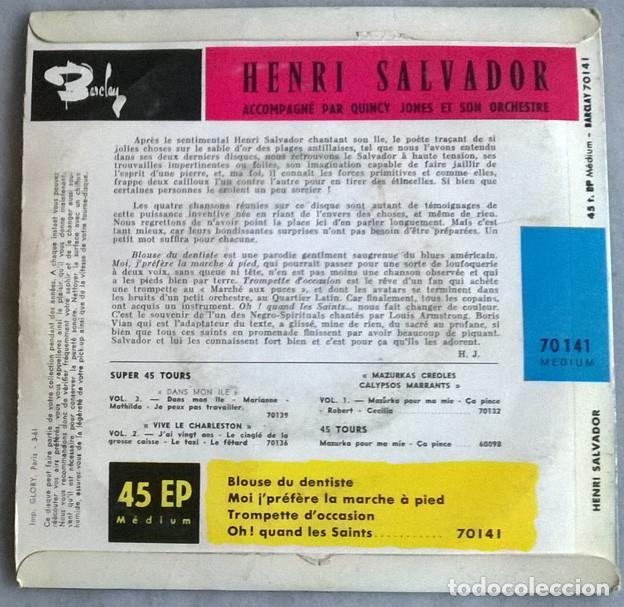 Discos de vinilo: Henri Salvador. Blouse du dentiste/ Trompette doccasion/ Moi je prefere la marche a pied/les saints - Foto 2 - 227277990