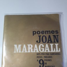 Discos de vinilo: POEMES JOAN MARAGATO, DITS PER PAU GARSABALL, PETITS PRELUDIO A 9 POEMES, JAUME PADRÓS.. Lote 227581100