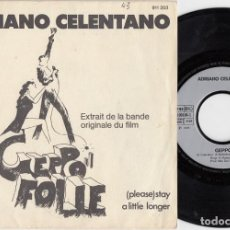 Discos de vinilo: ADRIANO CELENTANO - GEPPO / STAY (PLEASE STAY A LITTLE LONGER) SINGLE DE VINILO EDICION FRANCESA #. Lote 227680645