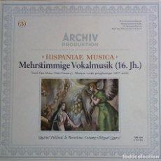 Discos de vinilo: VARIOS. HISPANIAE MUSICA SIGLO XVI. QUARTET POLIFONIC DE BARCELONA. M.QUEROL. ARCHIV (1LP). Lote 227695705