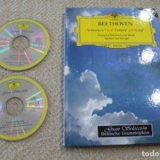 Discos de vinilo: BEETHOVEN SINFONIAS 5,6 PASTORAL Y 9 CORAL DOBLE CD Y LIBRO. Lote 227704620