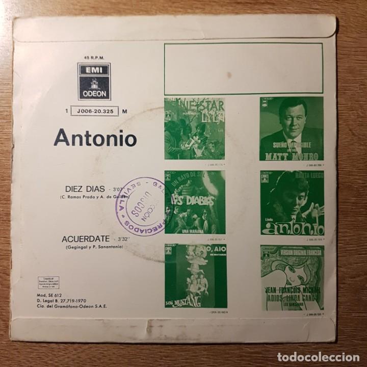Discos de vinilo: DISCO SINGLE DE ANTONIO. FESTIVAL DE BENIDORM - Foto 2 - 227760760