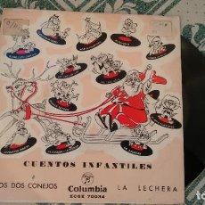 Discos de vinilo: SINGLE (VINILO) CON LOS CUENTOS INFANTILES LOS DOS CONEJOS- LA LECHERA AÑOS 60. Lote 227945725