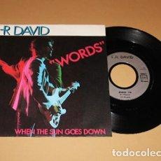 Dischi in vinile: F.R. DAVID - WORDS - SINGLE - 1982. Lote 228015345