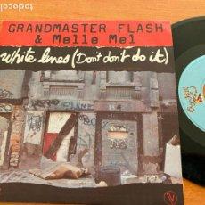 Disques de vinyle: GRANDMASTER FLASH & MELLE MEL (WHITE LINES ) SINGLE FRANCE 1983 (EPI20). Lote 228018665