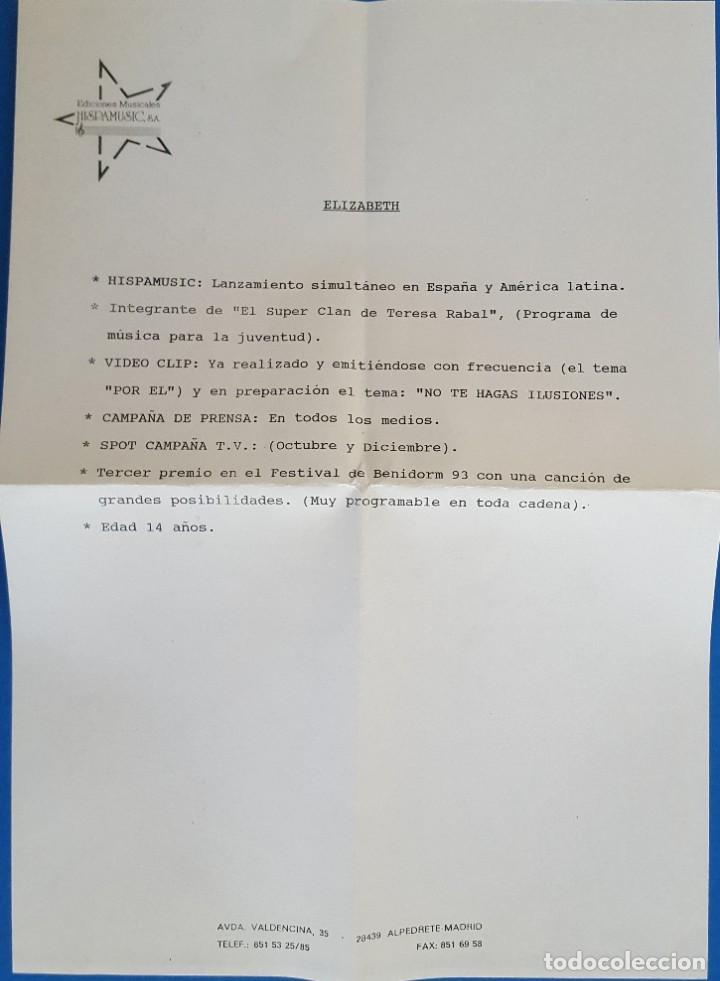 Discos de vinilo: SINGLE/FESTIVAL BENIDORM 93/FINALISTAS-ELIZABETH NO TE HAGAS ILUSIONES/ULTIMA CRUZADA: - Foto 4 - 228067370