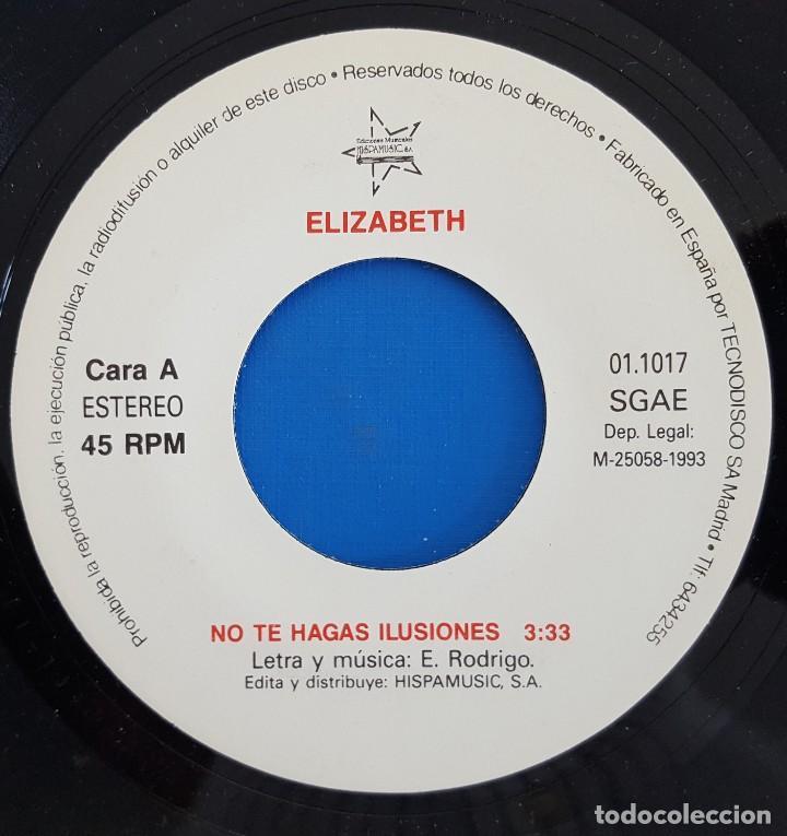 Discos de vinilo: SINGLE/FESTIVAL BENIDORM 93/FINALISTAS-ELIZABETH NO TE HAGAS ILUSIONES/ULTIMA CRUZADA: - Foto 5 - 228067370