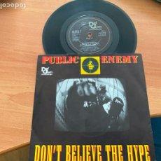 Discos de vinilo: PUBLIC ENEMY (DON'T BELIEVE THE HYPE) SINGLE 1988 UK (EPI20). Lote 228188535