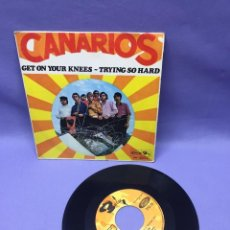 Dischi in vinile: SINGLE CANARIOS -- GET ON YOUR KNEES -- TRYING SO HARD -- MADRID 1968 -- VG. Lote 228317060