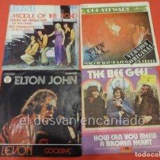 Discos de vinilo: ROD STEWART-ELTON JOHN-BEE GEES. LOTE 4 SINGLES. Lote 228325250