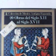 Discos de vinilo: L.P. 33 RPM. COLECCIÓN DE MÚSICA ANTIGUA ESPAÑOLA. 2O, OBRAS DEL SIGLO XII AL SIGLO XVII. Lote 228626165