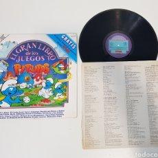 Discos de vinilo: LIBRO + LP - LOS PITUFOS - EL GRAN LIBRO DE LOS JUEGOS PITUFOS. Lote 228634310