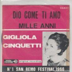 Discos de vinilo: 45 GIRI GIGLIOLA CINQUETTI DIO, COME TI AMO /MILLE ANNI SHOW RECORDS N1 O SAN REMO FESTIVAL 1966. Lote 228708525