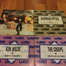Discos de vinilo: LOTE SINGLES VINILO. PHIL COLLINS, ALANNAH MYLES, KIM WILDE Y THE CREEPS. WEA. Lote 228977300