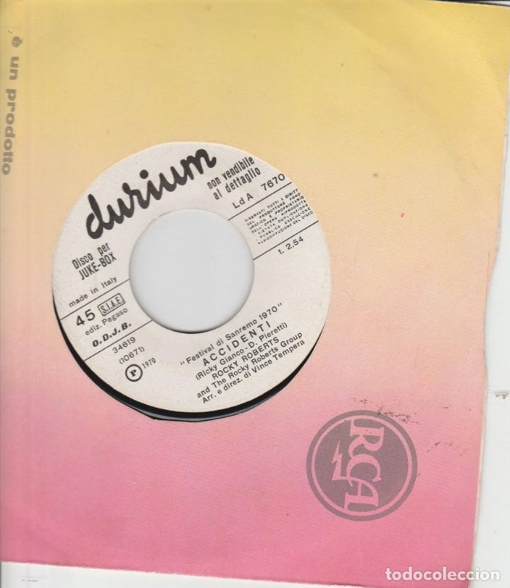 45 GIRI EDIZIONE KUKE BOX ROCKY ROBERTS DORY GHEZZI ACCIDENTI /OCCHI A MANDORLA DURIUM SANREMO 70 (Música - Discos de Vinilo - Maxi Singles - Otros Festivales de la Canción)
