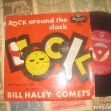 Discos de vinilo: BILL HALEY AND THE COMETS ROCK AROUND THE CLOCK (BRUNSWICK-1956) OG ENGLAND. Lote 229148735